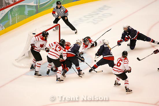 Trent Nelson     The Salt Lake Tribune.Canada defeats Team USA in the gold medal game, women's Ice Hockey at the Canada Hockey Place, Vancouver, XXI Olympic Winter Games, Thursday, February 25, 2010.