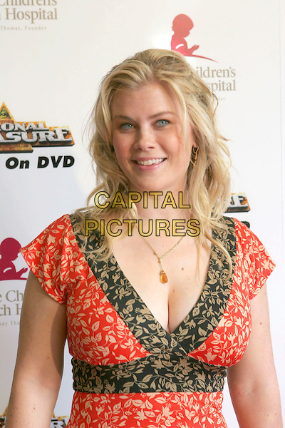 "ALISON SWEENEY.3rd Annual Runway for Life Benefitting St. Jude Children's Research Hospital and Celebrating the DVD Release of ""National Treasure"" held at the Beverly Hilton Hotel, Beverly Hills, California, USA, 01st May 2005. .portrait headshot sweeny orange green patterned print dress.Ref: ADM.www.capitalpictures.com.sales@capitalpictures.com.©Zach Lipp/AdMedia/Capital Pictures."