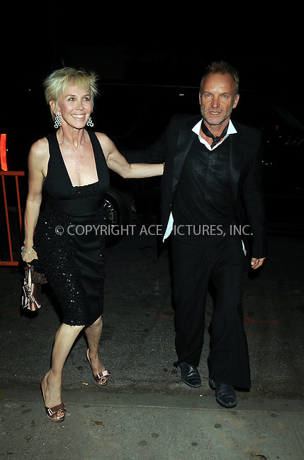 WWW.ACEPIXS.COM . . . . . ....October 20 2008, New York City....Misician Sting and his wife Trudie Styler arriving at an event in midtown Manhattan on October 20 2008 in New York City....Please byline: KRISTIN CALLAHAN - ACEPIXS.COM.. . . . . . ..Ace Pictures, Inc:  ..(646) 769 0430..e-mail: info@acepixs.com..web: http://www.acepixs.com