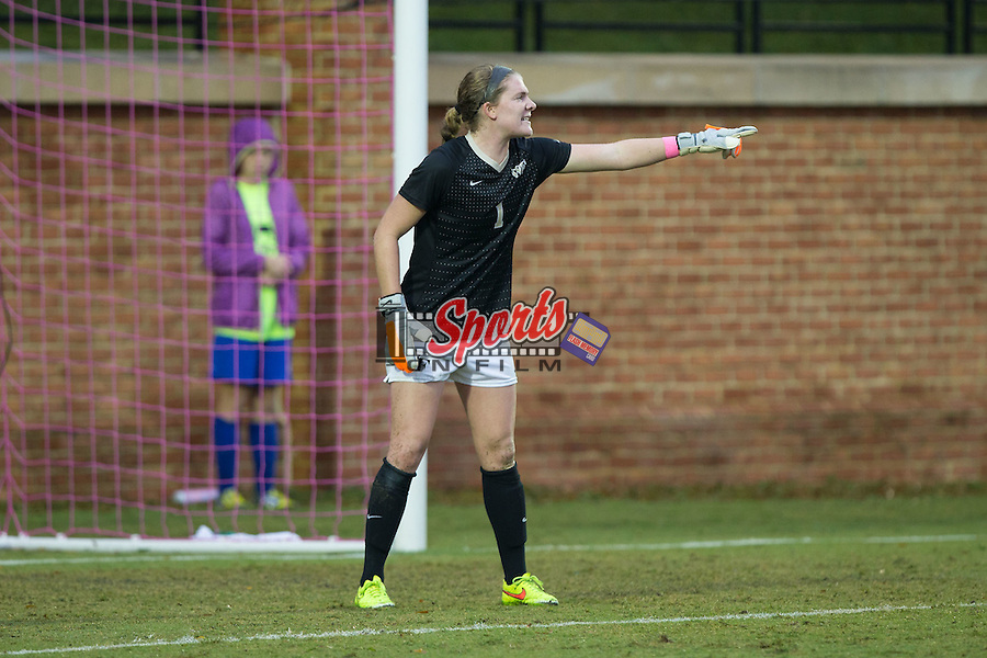 Lindsay Preston (1) of the Wake Forest Demon Deacons directs her defense during first half action against the North Carolina Tar Heels at Spry Soccer Stadium on September 27, 2015 in Winston-Salem, North Carolina.  The Tar Heels defeated the Demon Deacons 1-0.  (Brian Westerholt/Sports On Film)