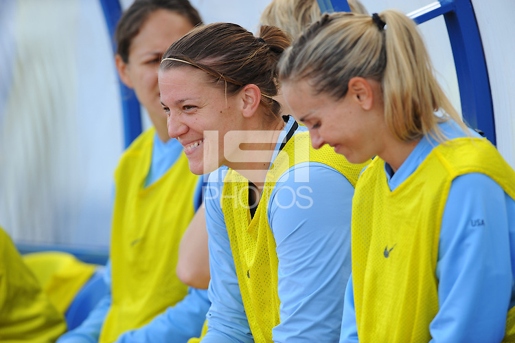 Nicole Barnhart (left) and Heather Mitts (right) share a moment before the game. The USWNT defeated Iceland (2-0) at Vila Real Sto. Antonio in their opener of the 2010 Algarve Cup on February 24, 2010.