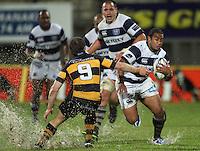 Auckland's Taniela Moa runs at Brett Goodin. Air New Zealand Cup rugby match - Taranaki v Auckland at Yarrows Stadium, New Plymouth, New Zealand. Friday 9 October 2009. Photo: Dave Lintott / lintottphoto.co.nz