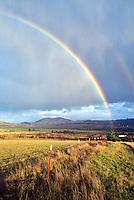Rainbow and pastureland. Near Monroe, Oregon.
