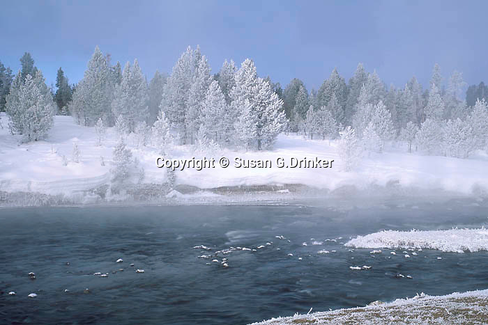 Thermally heated Yellowstone River rushes through a -25º morning in Yellowstone National Park