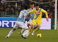 Miguel Britos durante l'incontro di calcio di Serie A  Lazio Napoli   allo  Stadio Olimpico  di Romai , 2 Dicembre 2013<br /> Foto Ciro De Luca