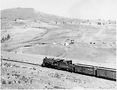 D&amp;RGW #488 approaching Osier from the west with freight train.<br /> D&amp;RGW  Osier, CO  Taken by Krause, John - ca. 1960