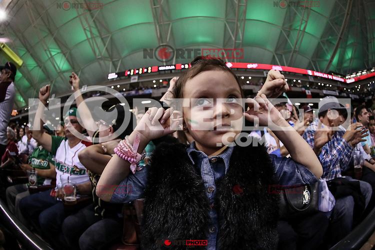 Una niña con la bandera tricolor mexicana se cubre los oídos ante el ruido ensordecedor del sonido local y la fanaticada, durante el segundo partido semifinal de la Serie del Caribe en el nuevo Estadio de  los Tomateros en Culiacan, Mexico, Lunes 6 Feb 2017. Foto: AP/Luis Gutierrez