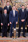 Real Madrid's president, Florentino Perez, King Felipe VI of Spain and Felipe Reyes receive in audience to the winner of basketball King's Cup 2017, Real Madrid at Zarzuela Palace in Madrid, Spain. March 06, 2017. (ALTERPHOTOS/BorjaB.Hojas)