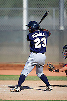 Milwaukee Brewers minor league outfielder Raul Mondesi #23 at bat during an instructional league game against the Cincinnati Reds at Maryvale Baseball Park on October 3, 2012 in Phoenix, Arizona.  (Mike Janes/Four Seam Images)