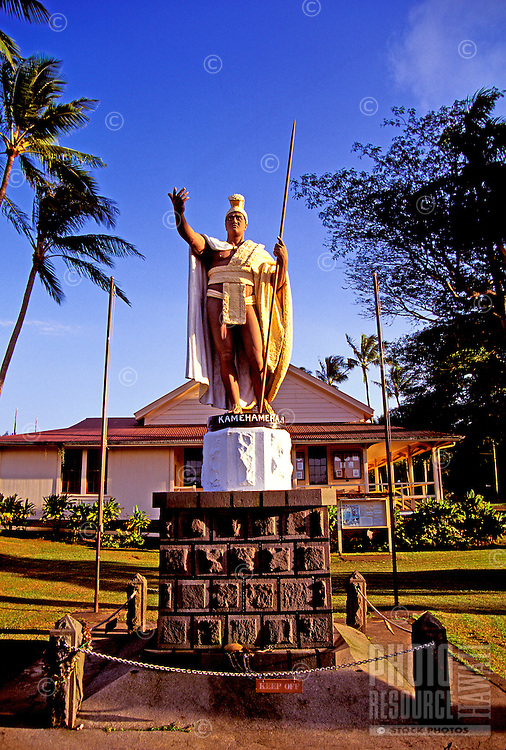 Statue of King Kamehameha at Kapaau, north Kohala, the birthplace of the legendary King. One of three statues; one resides in Washington DC and the other in Honolulu.