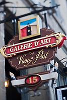 Amérique/Amérique du Nord/Canada/Québec/Montréal: Enseigne Galerie d'Art du quartier du Vieux Port dans le Vieux-Montréal - Rue de la Commune