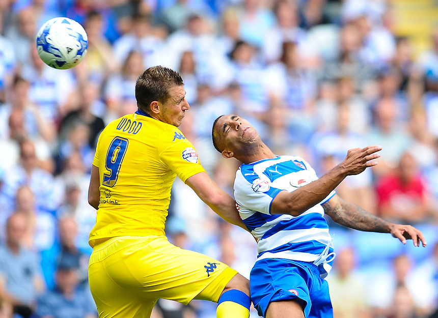 Leeds United's Chris Wood and Reading's Anton Ferdinand battle to win the header<br /> <br /> Photographer Craig Thomas/CameraSport<br /> <br /> Football - The Football League Sky Bet Championship - Reading v Leeds United - Sunday 16th August 2015 - Madejski Stadium - Reading<br /> <br /> &copy; CameraSport - 43 Linden Ave. Countesthorpe. Leicester. England. LE8 5PG - Tel: +44 (0) 116 277 4147 - admin@camerasport.com - www.camerasport.com