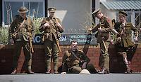 Men in World War I gear by Aberavon beach, Port Talbot, south Wales UK. Friday 01 July 2016