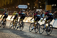 Peloton with team Ineos and yellow jersey Egan Bernal (COL/ineos) riding the Champs-Elysées cobbles.<br /> <br /> Stage 21: Rambouillet to Paris (128km)<br /> 106th Tour de France 2019 (2.UWT)<br /> <br /> ©kramon