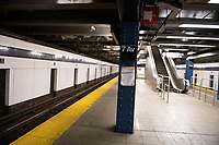New York, New York City. New Yorkers are told to stay home during the corona virus, (COVID-19) so New York has become eerily empty. The subways are devoid of people.