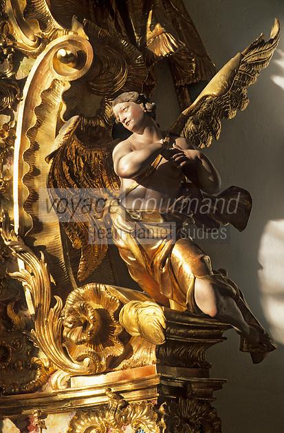 Europe/Autriche/Tyrol/Stams: L'abbaye - Détail retable baroque