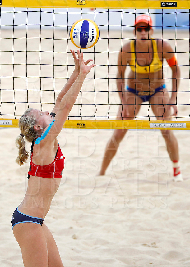 Germany's Karla Borger left, in action against Taiana Lima at the Beach Volleyball World Tour Grand Slam, Foro Italico, Rome, 22 June 2013. Brazil defeated Germany 2-1.<br /> UPDATE IMAGES PRESS/Isabella Bonotto