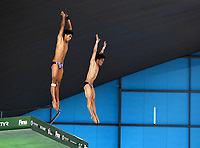 Malaysia's Nazirul Hanis Jaya Surya  and Jellson Jabillin  compete in the Men's 10m Synchro Platform<br /> <br /> Photographer Hannah Fountain/CameraSport<br /> <br /> FINA/CNSG Diving World Series 2019 - Day 1 - Friday 17th May 2019 - London Aquatics Centre - Queen Elizabeth Olympic Park - London<br /> <br /> World Copyright © 2019 CameraSport. All rights reserved. 43 Linden Ave. Countesthorpe. Leicester. England. LE8 5PG - Tel: +44 (0) 116 277 4147 - admin@camerasport.com - www.camerasport.com