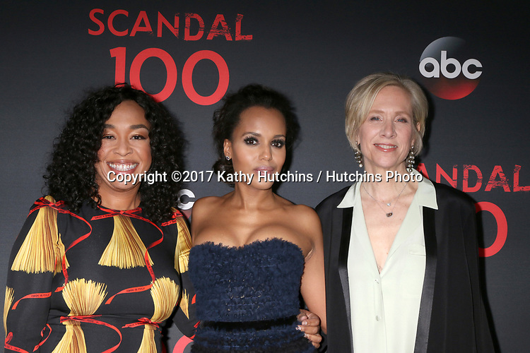 "LOS ANGELES - APR 8:  Shonda Rhimes, Kerry Washington, Betsy Beers at the ""Scandal"" 100th Show Party at Fig & Olive Resturant on April 8, 2017 in West Hollywood, CA"