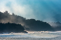 Dramatic light through heavy sea spray (or ehu kai) at Lumahai Beach on the northern shore of Kaua'i.