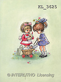 Interlitho, CHILDREN, nostalgic, paintings, 2 girls, doll's pram(KL3625,#K#) Kinder, niños, nostalgisch, nostálgico, illustrations, pinturas