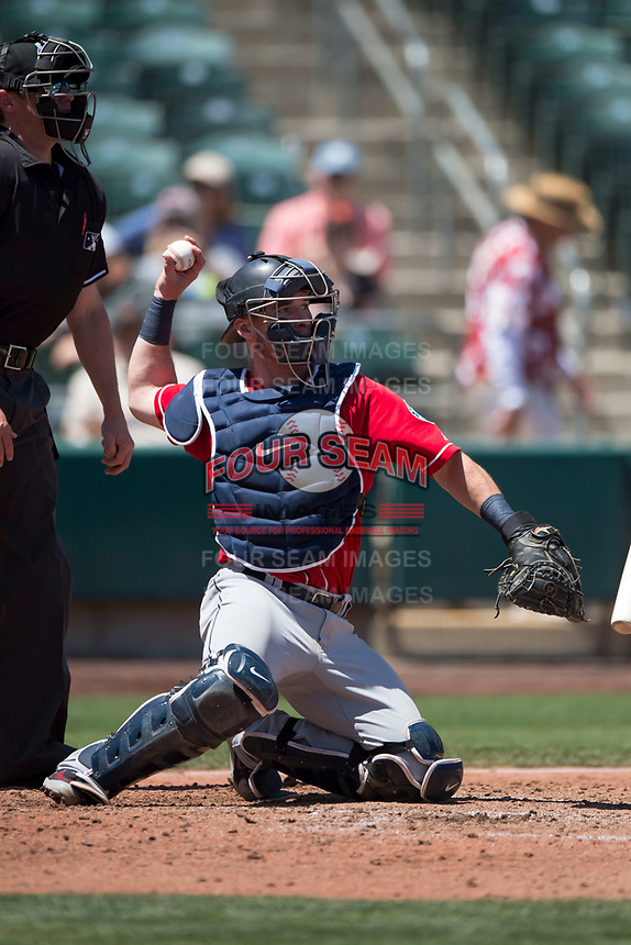 Tacoma Rainiers catcher Chris Herrmann (14) during a Pacific Coast League game against the Sacramento RiverCats at Raley Field on May 15, 2018 in Sacramento, California. Tacoma defeated Sacramento 8-5. (Zachary Lucy/Four Seam Images)