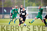 Wayne Sparling Killarney Celtic takes on the Boyle Celtic defence during their FAI cup clash in Killarney on Saturday