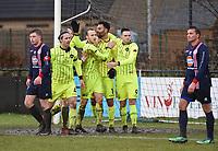 SK ZWEVEZELE - SV OOSTKAMP :<br /> spelers van Zwevezele vieren het openingsdoelpunt van Abdoullah Omari<br /> <br /> Foto VDB / Bart Vandenbroucke