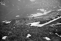 2013 Giro d'Italia.stage 15: Cesana Torinese - Col du Galibier (Valloire)..riders coming up the Galibier are welcomed with snow