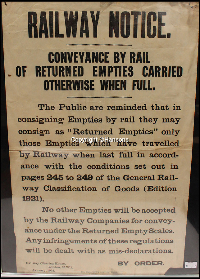BNPS.co.uk (01202 558833)Pic: Hansons/BNPS<br /> <br /> Railway notice - Estimated at £100-200.<br /> <br /> Vintage railway posters promoting the golden age of steam which were rescued from a station roof just before the building was demolished 54 years ago have emerged for sale for £20,000.<br /> <br /> The pristine Midland Railway posters - which date from 1910 to 1920 - were found by chance by a Cambridge undergraduate during a night out with friends in the tiny village of Edwaldton on the outskirts of Nottingham in 1964.<br /> <br /> As they walked through the old ticket office at Edwalton railway station, 22 year old Chris Hind saw some paper that had fallen through a hole in the ceiling. <br /> <br /> The next day, he returned to the station and fashioned a makeshift ladder to climb into the loft where the paper had fallen from and was amazed to discover a vast collection of about 40 posters which he has kept since then.