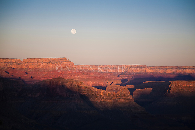 Full moon in early morning from the South Kaibab Trail in Grand Canyon National Park