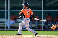 Baltimore Orioles outfielder Kyle Hudson (3) during a minor league Spring Training game against the Boston Red Sox at Buck O'Neil Complex on March 25, 2013 in Sarasota, Florida.  (Mike Janes/Four Seam Images)