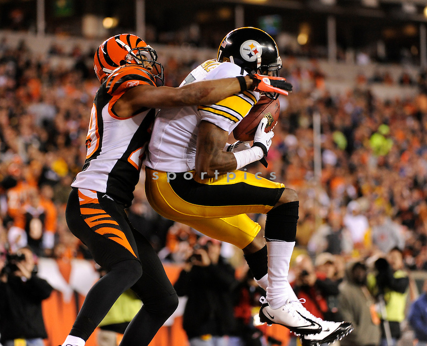 MIKE WALLACE, of the Pittsburgh Steelers in action durIng the Steelers game against the Cincinnati Bengals at Paul Brown Stadium in Cincinnati, OH on November 8, 2010...Steelers beat the Bengals 27-21