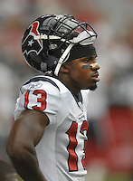 Aug 18, 2007; Glendale, AZ, USA; Houston Texans wide receiver Jerome Mathis (13) against the Arizona Cardinals at University of Phoenix Stadium. Mandatory Credit: Mark J. Rebilas-US PRESSWIRE Copyright © 2007 Mark J. Rebilas