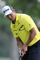 Hideki Matsuyama (JPN) sinks his birdie putt on the 8th green during Saturday's Round 3 of the WGC Bridgestone Invitational 2017 held at Firestone Country Club, Akron, USA. 5th August 2017.<br /> Picture: Eoin Clarke | Golffile<br /> <br /> <br /> All photos usage must carry mandatory copyright credit (&copy; Golffile | Eoin Clarke)