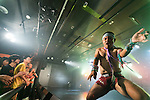 An air guitarist plays an imaginary riff during the Air Guitar 2016 Japan Finals at Zirco Tokyo in Shinjuku on August 7, 2016, Tokyo, Japan. The contest is held by the Air Guitar Japan Association. The Japanese winner TAM will participate in the Air Guitar World Championships 2016 in Finland which takes place August 24 to 26. (Photo by Rodrigo Reyes Marin/AFLO)