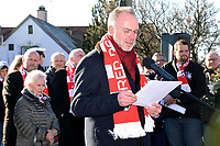 6th February 2020, Munich Riem Airport, Munich, Germany; Karl Heinz Rummenigge at the laying of the foundation stone for a commemorative display case to commemorate the 62nd anniversary of the air crash at the former Munich Riem Airport, in which 23 people died, including eight Manchester United football players