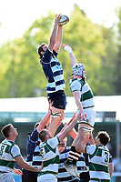 Will Carrick-Smith of Bedford Blues wins the ball at a lineout. Greene King IPA Championship match, between Ealing Trailfinders and Bedford Blues on April 20, 2019 at the Trailfinders Sports Ground in London, England. Photo by: Patrick Khachfe / Onside Images