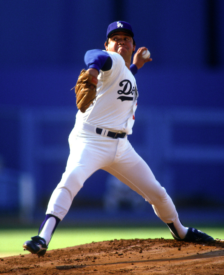 Fernando Valenzuela in May 1987.<br /> <br /> &copy; Jon SooHoo/Los Angeles Dodgers