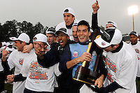 Virginia Cavaliers goalkeeper Diego Restrepo (1) celebrates with teammates after the game. The Virginia Cavaliers defeated the Akron Zips 3-2 in a penalty kick shoot out after a scoreless game and overtime in the finals of the 2009 NCAA Men's College Cup at WakeMed Soccer Park in Cary, NC on December 13, 2009.