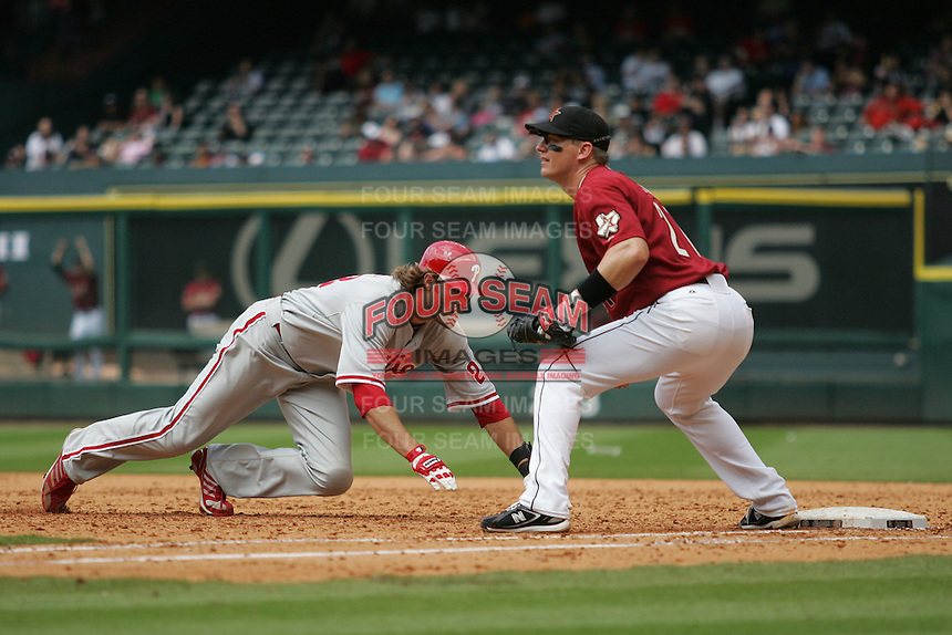 Philadelphia Phillies OF Jayson Werth against the Houston Astros on Sunday April 11th, 2010 at Minute Maid Park in Houston, Texas.  (Photo by Andrew Woolley / Four Seam Images)