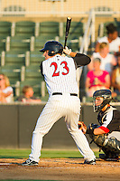 Jeremy Dowdy (23) of the Kannapolis Intimidators at bat against the Hickory Crawdads at CMC-Northeast Stadium on July 26, 2013 in Kannapolis, North Carolina.  The Intimidators defeated the Crawdads 2-1.  (Brian Westerholt/Four Seam Images)