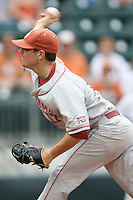 Pitcher Ryan Duke #17 of the Oklahoma Sooners delivers against the Texas Longhorns in NCAA Big XII baseball on May 1, 2011 at Disch Falk Field in Austin, Texas. (Photo by Andrew Woolley / Four Seam Images)