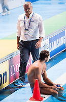 Dejection CAMPAGNA Sandro coach ITA<br /> GREECE vs ITALY<br /> GRE vs ITA<br /> Waterpolo - Men's 3rd-4th place <br /> Day 16 08/08/2015<br /> XVI FINA World Championships Aquatics Swimming<br /> Kazan Tatarstan RUS July 24 - Aug 9 2015 <br /> Photo Giorgio Perottino/Deepbluemedia/Insidefoto