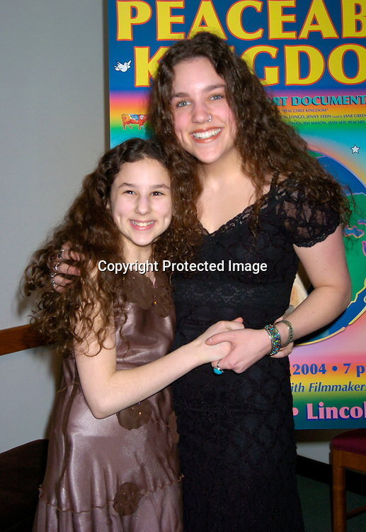 "Hallie Kate Eisenberg and sister Kerry Lea..at the World Premiere of "" Peaceable Kingdom""  on February 29, 2004 at Alice Tully Hall at LIncoln Center in ..New York City. Photo by Robin Platzer, Twin Images"