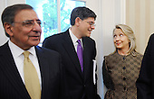 From left to right: United States Secretary of Defense Leon Panetta; White House Chief of Staff Jacob Lew; and U.S. Secretary of State Hillary Rodham Clinton attend a meeting between U.S. President Barack Obama and Prime Minister Yoshihiko Noda of Japan in the Oval Office of the White House on April 30, 2012 in Washington DC..Credit: Olivier Douliery / Pool via CNP