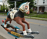 "A view of, ""Rocko the Rocket Horse"" by artist, Remington Masters, one of the 35 Artist painted Rocking Horses on display around Saugerties, NY as part of the Chamber of Commerce sponsored Art in the Village Project titled ""Rockin' Around Saugerties."" This photo taken on Friday, May 26, 2017. Photo by Jim Peppler. Copyright/Jim Peppler-2017."