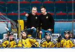 Stockholm 2014-11-16 Ishockey Hockeyallsvenskan AIK - IF Bj&ouml;rkl&ouml;ven :  <br /> AIK:s tr&auml;nare huvudtr&auml;nare Peter Nordstr&ouml;m gestikulerar under en diskussion med assisterande tr&auml;nare David Engblom under matchen mellan AIK och IF Bj&ouml;rkl&ouml;ven <br /> (Foto: Kenta J&ouml;nsson) Nyckelord:  AIK Gnaget Hockeyallsvenskan Allsvenskan Hovet Johanneshov Isstadion Bj&ouml;rkl&ouml;ven L&ouml;ven IFB tr&auml;nare manager coach portr&auml;tt portrait