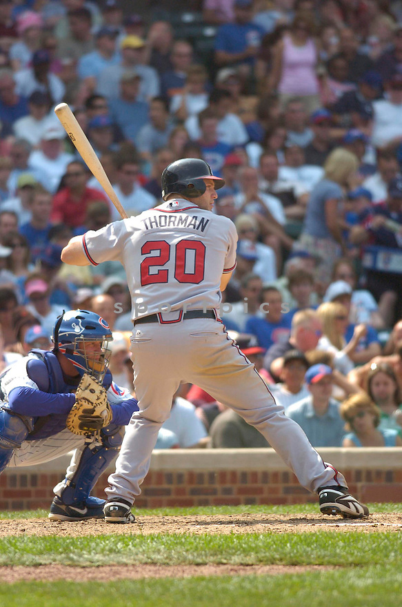SCOTT THORMAN, of the Atlanta Braves , in action during the Braves game against the Chicago Cubs in Chicago, IL, on June 2,  2007...Braves win 5-3...CHRIS BERNACCHI/ SPORTPICS..