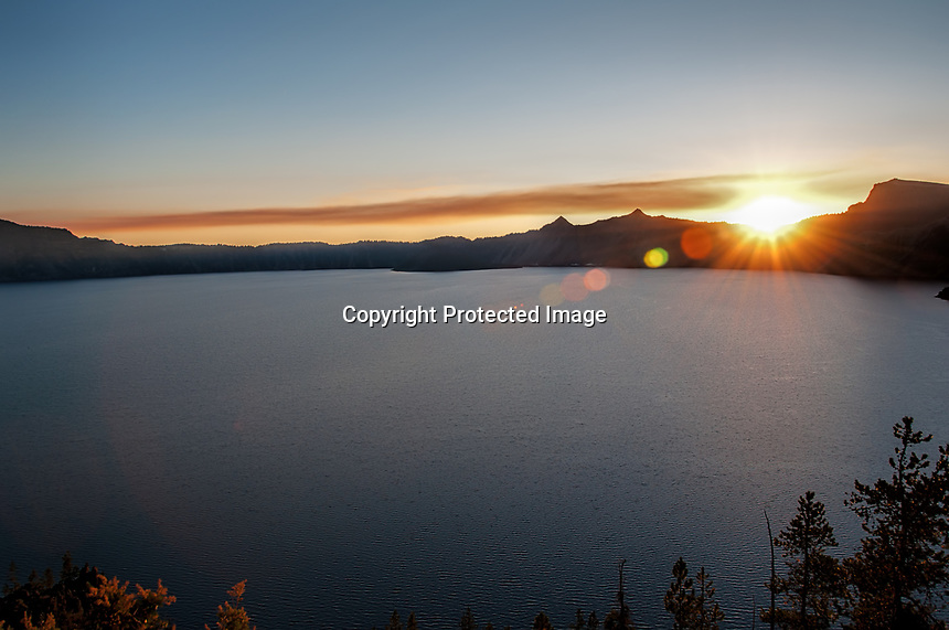 A sunset view of Crater Lake National Park, Oregon at the end of September.